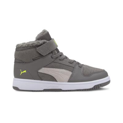 Puma Rebound Lay-Up Fur V sportschoenen Groen / Grijs / Wit 370498_05