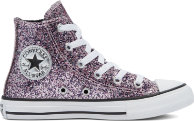 Converse Coated Glitter Chuck Taylor All Star High Top Bright Lilac/Black/White 669295C