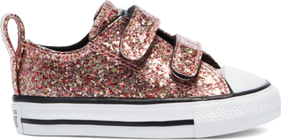 Converse Coated Glitter Easy-On Chuck Taylor All Star Low Top Bright Coral/Silver/Black 769806C