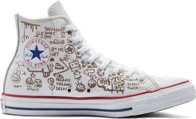 Converse Distressed Graffiti Chuck Taylor All Star High Top White Graffiti Smoke In 169926C