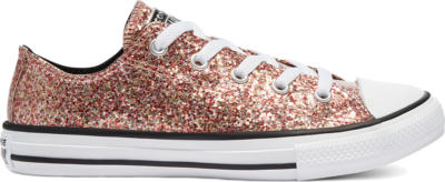Converse Coated Glitter Chuck Taylor All Star Low Top Bright Coral/Silver/Black 669805C