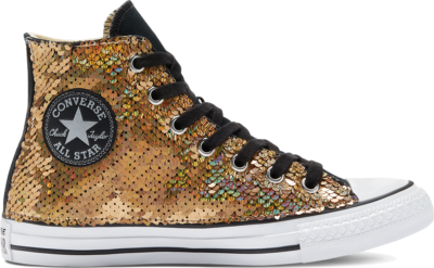 Converse CTAS CANVAS LTD HI GOUD ZILVER Gold Silver Sequins 169934C