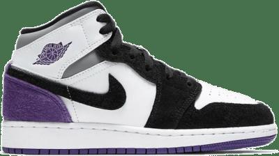 Air Jordan 1 Mid Se (Gs) WHITE/COURT PURPLE-BLACK-PARTICLE GREY Purple BQ6931-105