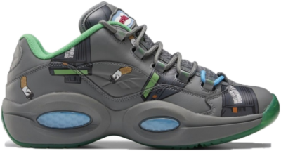 Reebok BBC Question Low Schoenen True Grey 5 / Raw Green / Bright Cyan FZ4342
