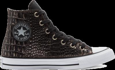 Converse Metallic Crocodile Chuck Taylor All Star High Top Black Silver Croco 169930C