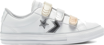 Converse Metallic Leather Easy-On Star Player Low Top White/Gravel/Metallic 670422C