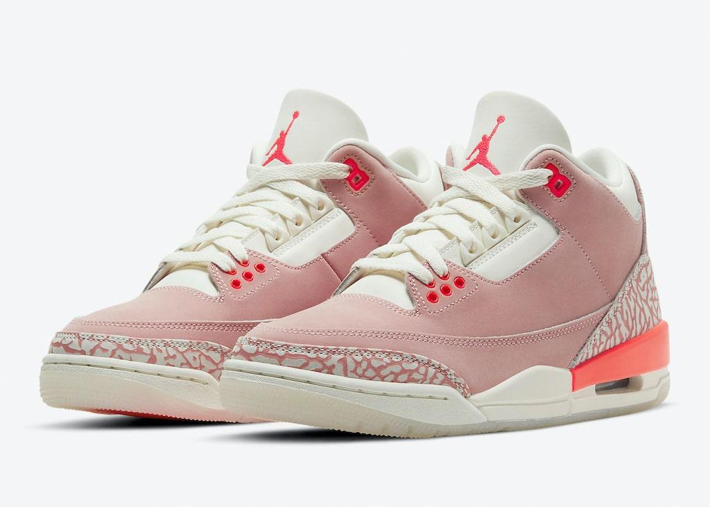De Air Jordan 3 is nog láng niet weggeroest met de aangekondigde 'Rust Pink' colorway