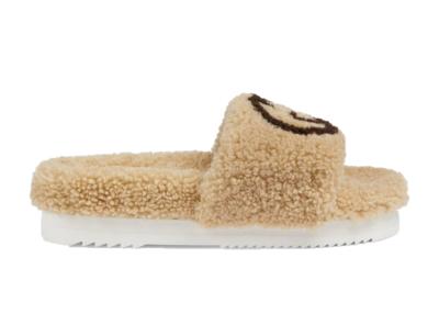 Gucci Slide Interlocking G Wool Light Brown (W) 646225 D0L00 9547