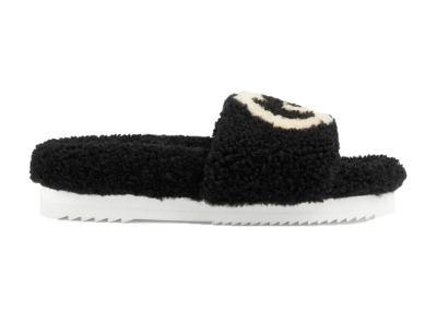 Gucci Slide Interlocking G Wool Black (W) _646225 D0L00 1046
