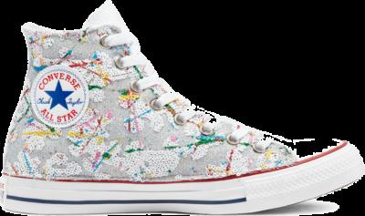 Converse Glitter Chuck Taylor All Star High Top White Glitter Sequins Splash 171004C