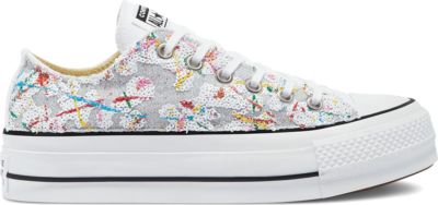 Converse Glitter Platform Chuck Taylor All Star Low Top White Glitter Sequins Splash 571005C
