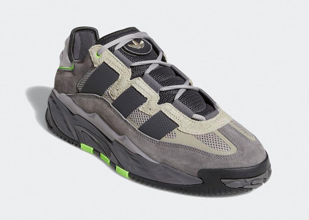 Back to the nineties met de nieuwe adidas Niteball in grijs en neon groen