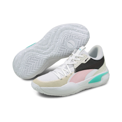 Women's PUMA Court Rider Summer Days Basketball Shoe Sneakers, Pink White,Pink Lady 195662_02