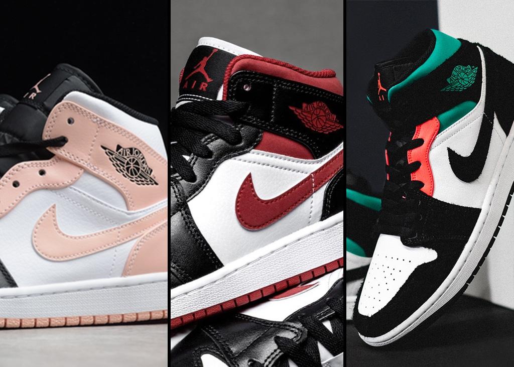 Drie van die: Kleurrijke Air Jordan 1 Mid sneakers