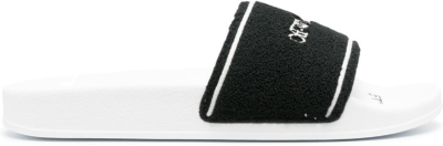 OFF-WHITE Chenille Slide Logo Embroidered Black White OMIC001R21MAT0030110