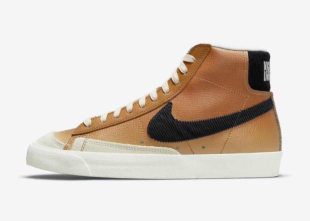 """Ribstof, kleurverloop en suède patches op de Nike Blazer '77 """"Mushroom"""""""