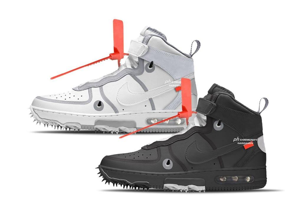 Mock-ups gelekt van behoorlijk intense Nike en Off-White Air Force 1