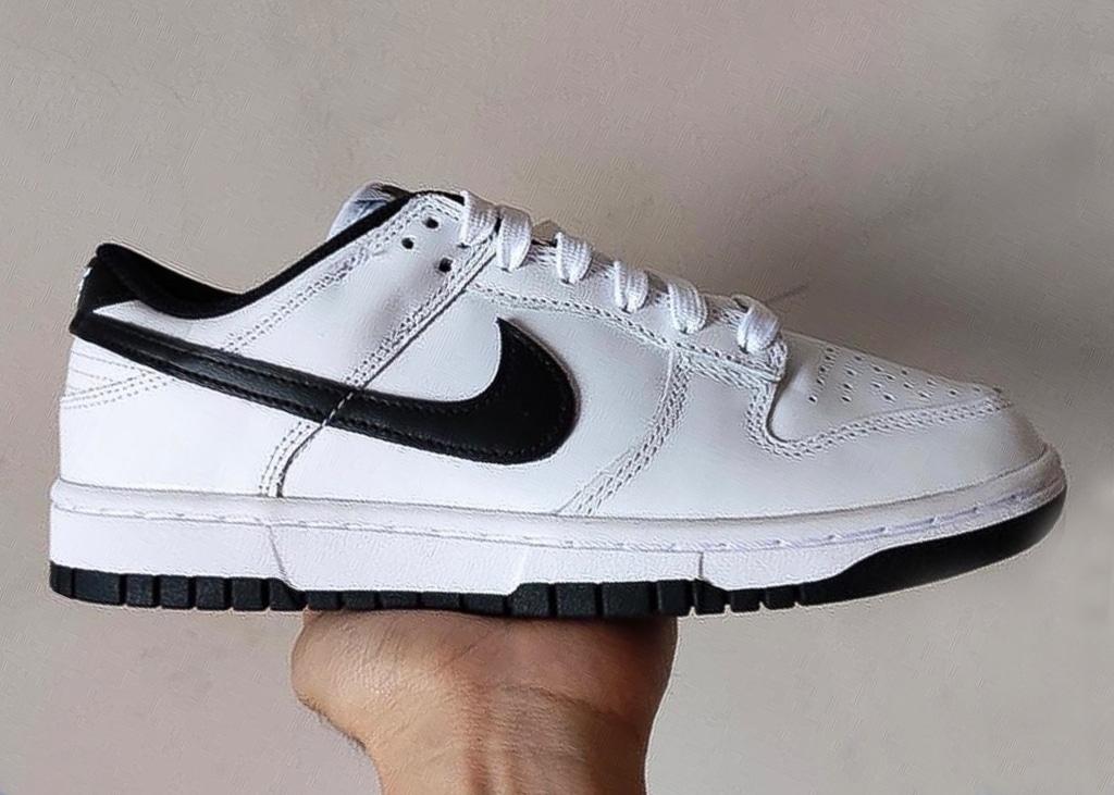 Een nieuwe Nike Dunk Low opgedoken in wit met zwart